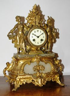 French mantle clock, gilt with alabaster – Period 1880