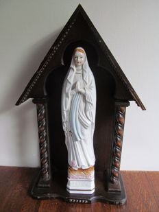 Lourdes - Mary statue in wooden chapel - France - second half 20th century