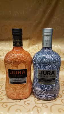 2 bottles - Isle of Jura - Superstition / Origin 10 years old - special edition