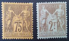 France 1890-1900 – Sage, types II and I, selection of 2 stamps, signed Roumet and Calves – Yvert # 99 and 105