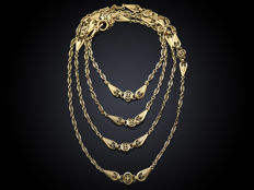 18K Art Nouveau necklace, decorated with filigree, approx.  1900s