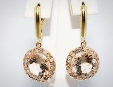 8.74 ct earrings with morganite and diamonds *no reserve*