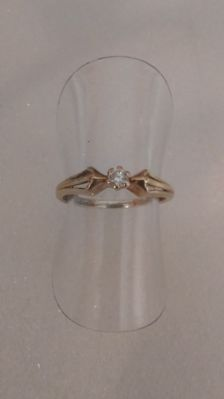 Yellow gold (14 kt ) ring with solitaire brilliant - ring size: 49