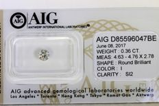 Diamond – 0.36 ct – I/SI2 – no reserve price