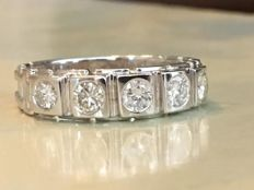 18k white gold ring with diamonds, approx. 0.70 ct G/VS/SI - Size 19.75 - 20 mm