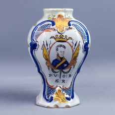Piccardt, Delft antique majolica vase 19th century prince of Orange