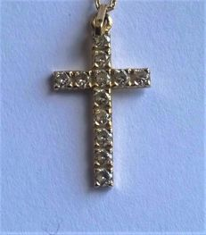 18 kt/750 yellow Gold cross + 12 Sapphires ** Period 1950-60 **