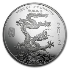USA - 1 oz 999 silver - Lunar year of the Dragon 2012 - 999 fine silver