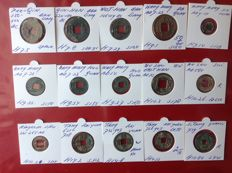 China – 15 AE coins From 350 B.C. to 959 A.D. (pre Qin, western Han, Wang Mang, Tang, and others)