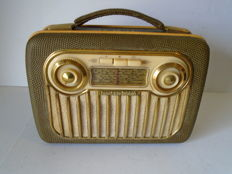 Akkord Portable Tube Radio Type Pinguin M56 from 1956 Germany
