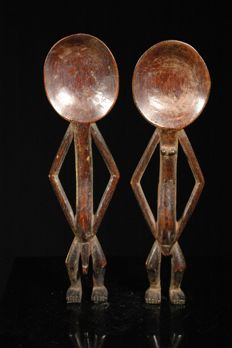 Pair of tribal spoons - LEGA - D.R Congo