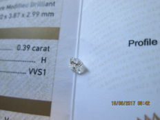Diamond: 0.39 ct, princess cut, H/VVS1