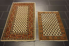2 beautiful handwoven Oriental carpets Sarough Mir made in India 70 x 140 cm and 60 x 90 cm
