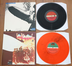 Led Zeppelin- Rare lot of their first 2 lp's, both special releases: Led Zeppelin (out of print issue with turquoise lettering!) & Led Zeppelin II (on ORANGE wax!)