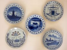 Porceleyne Fles - Five commemorative plates, among which WW I