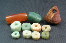 11 Neolithic Sahara beads / pendants - Amazonite, Serpentine and Jasper  - 20mm to 7mm (11)