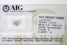 Diamond – 0.76 ct – E/I1 – No reserve price