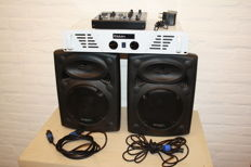 Sound set 2x 150W, amplifier, speakers, mixer and cables