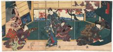 "Original triptych woodcut by Utagawa Kunisada (1786-1864), title ""Wind"" from the ""Birds and Flowers, Wind and Moon"" series – Japan – 1847-1852"