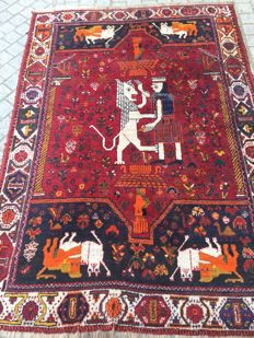 Antique carpet Persian Shiraz handmade 97 x 160 cm