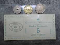 Greenland - lot of 3 coins 1 note - 1922/26