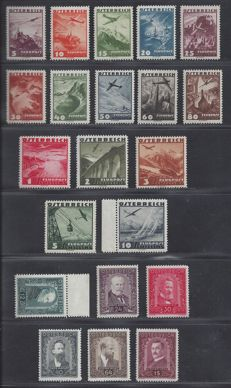 Austria 1932/1935 – Painters and Plane – Michel 545/550 + 598/612.