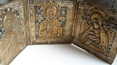 A very large bronze Russian Orthodox travel icon depicting Deesis and 3-color enamel of first half 18th century