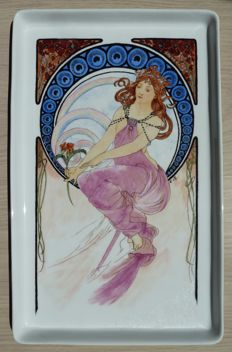 Very beautiful hand painted porcelain dish, signed in the style of Alphonse Mucha