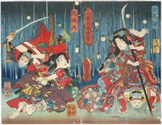 Original diptych wood carving by Utagawa Kunisada (1786 - 1864) and Utagawa Kuiaki (act.  1844-68) - Japan - approx. 1850