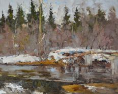 Alexander Kolotilov. (1946-) A winter river landscape with footbridge.