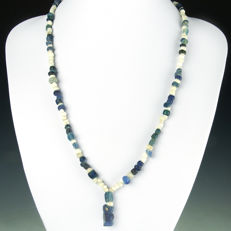 Necklace with Roman blue glass and shell beads - 56 cm
