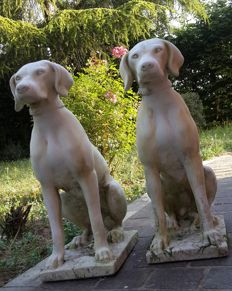 Pair of Hunting Hounds, made of Carrara marble dust - France - 20th-century