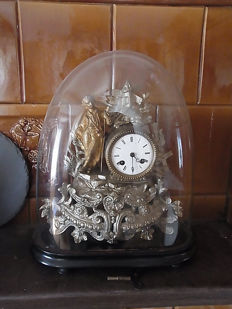 French fireplace clock with original glass dome - around 1880
