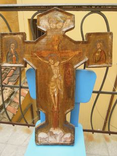 Ancient wooden cross with Christ and religious scenes - Tuscany, Italy - 18th century