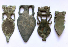 Ancient Roman bronze apliques for a belt shaped as Amphora 4 pieces. / 34mm - 51mm