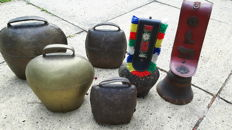 Collection of 6 cow bells
