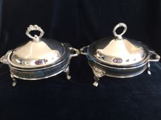 2 glass cover tray in silver plate holder on feet. Regal Zualily Silver, Hong Kong, 2nd half 20th century.