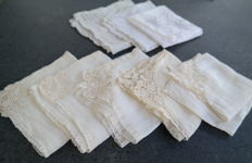 Lot of eight handkerchiefs with various lace, Belgium, first half 20th century