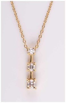 Pendant on chain, 14 kt gold with 3 brilliants