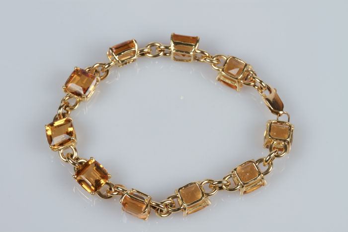 18 kt yellow gold bracelet with citrines - 18 cm