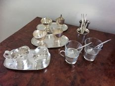 2 Silvered cream set of , marked Douwe Egberts, & WMF silvered cream set , 8 teaspoon, 2 tea glass cup holder silver plated ,2 spoon vase