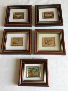 5 paintings 23 KT Gold Leaf Reproduction.