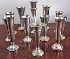 Beautiful collection of 13  silver plated vases.