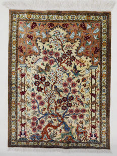 Persian silk rug, silk on silk Ghom Life tree, signed (Ghom Mohamadi), 80 x 57 cm