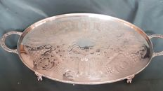 "Large Silver Plated Tray ""Viners of Sheffield"" with handles and claw feet"