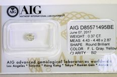 Diamond 0.37 ct -  SI2 - Fancy Light Grayish Yellow - Zonder Reserve Prijs