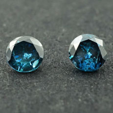 Pair of round blue 0.26ct diamonds – Low reserve price