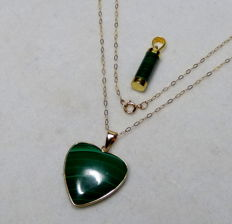 Pendant set - 14 kt gold with malachite