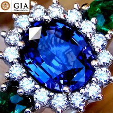 Unheated 2.32 ct Natural Color Change Blue Sapphire Diamond And Emerald Cocktail Ring in 18 kt white gold - GIA Certified - No Reserve