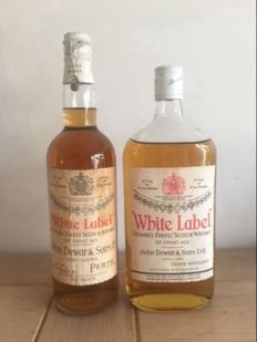 2 bottles - John Dewar & Sons White Label 1959 Spring Cap & John Dewars 1972 rare flat bottle